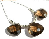 55% OFF SALE 3Pc Set 14 to 16mm Genuine Smoky Quartz Faceted Heart Briolettes Finest Quality Wholesale Price
