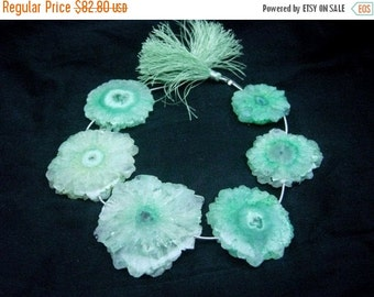 55% OFF SALE 409 Ctw 8 Inches - Green Solar Quartz Stalactite Slice Briolettes Huge 32 - 48mm Approx