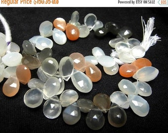55% OFF SALE Full 8 Inches - Super Finest Natural AAA Multi Moonstone Faceted Pear Briolettes Size 10x7 - 9x7mm Approx