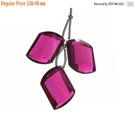 50% Off Valentine day 3Pc Set of Extremely Gorgeous Rubelite Tourmaline Quartz Faceted Fancy Briolettes 24x14mm