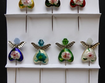 Set of 7 Large Colorful Cloisenne Angel Straight Pins