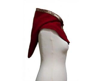 Medieval cowl hood dark red wool, front closure with ivy leaf, ready to ship, renaissance hood, elf hood, elf costume, medieval wear