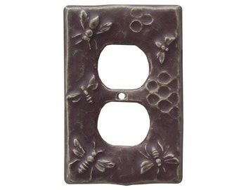 Ceramic Honeybees Duplex Outlet Cover  in Purple Glaze