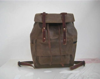 Waxed Canvas Backpack / Rucksack Drawstring Closure Zipper Pocket Padded Straps Laptop Pouch Leather Stone