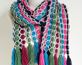 Crochet scarf, colorful with fringe,  P446