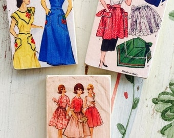 Retro, Vintage, Apron, Dress, Pattern, Patterns, Wood, Fridge, Magnet