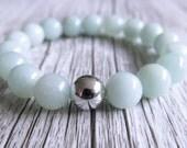 Amazonite Bracelet Gemstone Mandala Silver Bead Bangle Goddess Crystal 10mm Bead Gemstone Bracelet Amazonite Beads