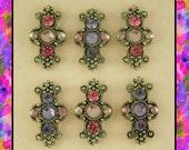 Beads Crosses Tanzanite & Rose Swarovski Crystal Elements ~ 2 Hole Sliders QTY 6