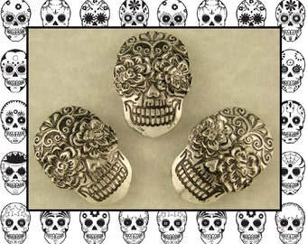 """Beads Skulls Ornate """"Day of the Dead"""" Silver Metal ~ 2 Hole Sliders CRAFTS QTY 3"""