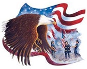 """EAGLE on Flag with Firemen on ONE 18"""" x 22"""" Fabric Panel to Quilt or Sew"""
