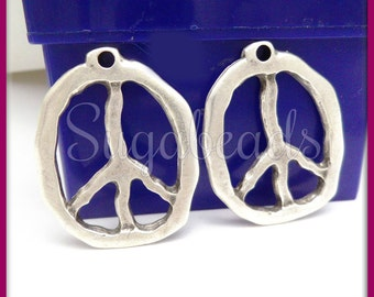 1 Mykonos Greek Casting Rustic Silver Peace Symbol - Silver Pewter Peace Pendant MK17