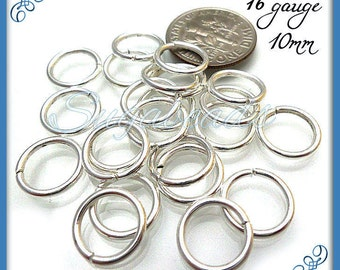 50 Strong Silver Plated Open Jump Rings 10mm 16 Gauge JRSP5