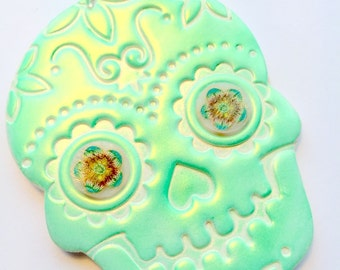 Green White Sugar Skull and Flowers Day of the Dead Ornament or Decoration