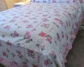 Vintage NOS Cotton Seersucker Bedspread Full - Pink Piping and Ruffles, Pink Cabbage Roses - Shabby Cottage Boudoir