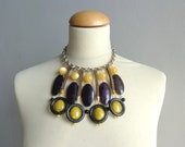 Black yellow gold statement necklace bib necklace large necklace chunky necklace