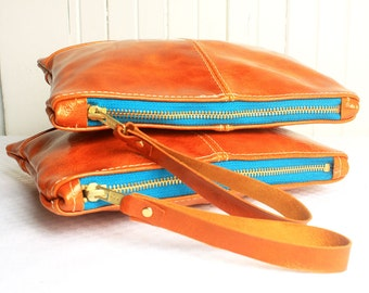 Clutch Bag in Full Grain Patent Orange Leather Purse