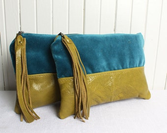 Leather Zip Pouch Bag in Teal Blue Velvet and Olive Green Genuine Leather Clutch Bag