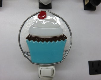 Cupcake Night Light - Glass Cupcake Nightlight - Fused Glass Cupcake Night Light