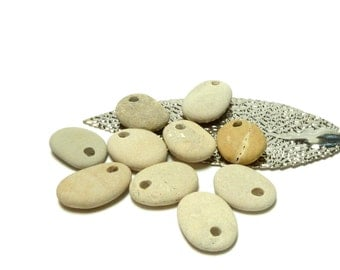 SALTY Beach Stone Medium Charms Pebbles Shore Stones River Rocks Beachstone Jewelry Pendant Dangles Tear Drop Set
