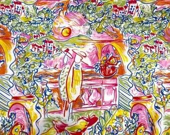 Vintage Matisse Style Provence Drawing Cotton Yardage