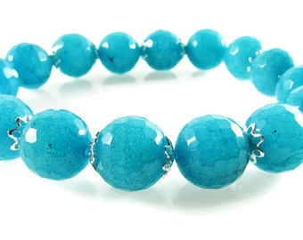 Blue Jade Stretch Bracelet, Boho Stretch Bracelet, Light Blue Bracelet