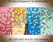 "Free shipping Colorful abstract art Original artwork acrylic gift for her wall art canvas art four seasons tree ""365 Days of Happiness"""