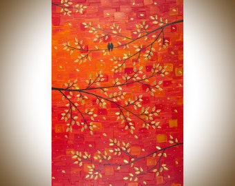 "Contemporary wall art colorful art red gold leaves tree love birds art wall decor Palette Knife Canvas art ""Autumn Romance""by qiqigallery"