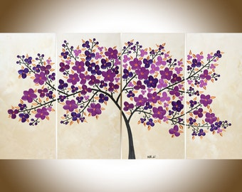 Original oil painting purple flowers tree painting copper art copper home decor large wall art modern art shabby chic canvas art