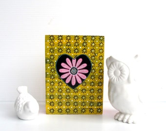 Pink Flower Colorful wall art on hollow wood box Pink and yellow