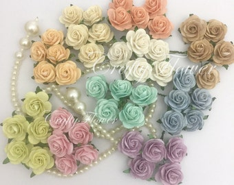 25 Pastel Mix Small Mulberry Paper Flowers for Baskets Scrapbooks Wedding Faux Cupcake Cards Dolls Crafts Roses 426/zR6
