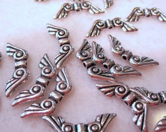 50% Off 25 pcs of Fairy Wings Antique silver-plated pewter 15x5mm double-sided wing beads MB 013