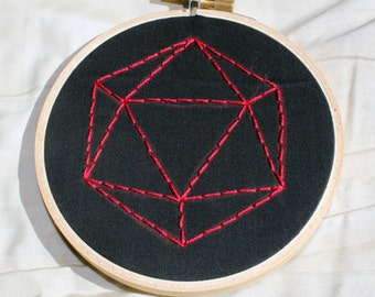 Custom d20 DnD Dungeons & Dragons Polyhedral embroideries, 4 x 4
