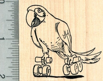 Skating Parrot Rubber Stamp, Macaw J31026 Wood Mounted