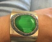 Emeral Green Quartz Cuff Bracelt, Gold Plated Gemstone Cuff