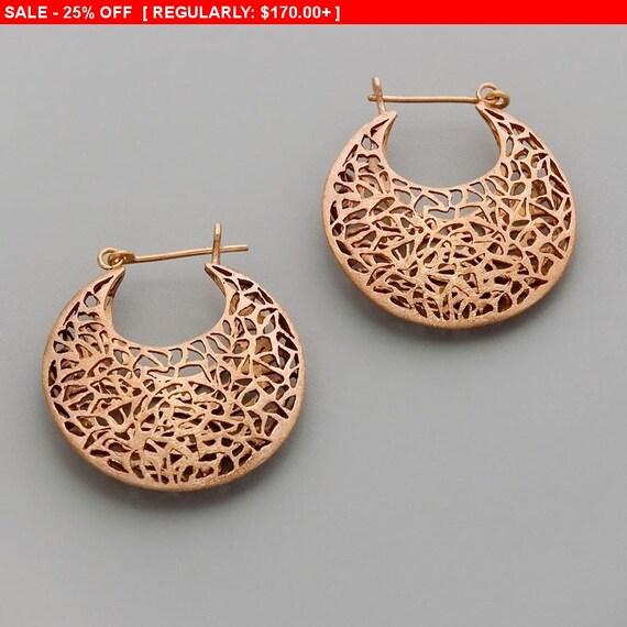 On SALE 25% OFF Large Boho Earrings, Rose Gold Earrings, Statement Hoop Earrings, Filigree Earrings, Chunky Earrings, Moroccan Earrings, ...