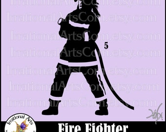 Fire Fighter Silhouette Pose 5 Female - 1 EPS & SVG Vinyl Ready Files and 1 PNG digital file and Small Commercial License (Instant Download)