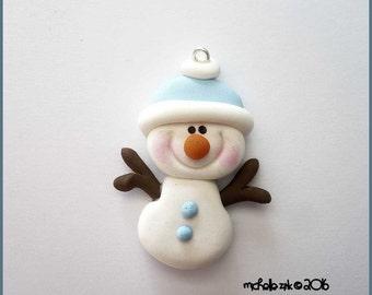 Polymer Clay Blue Snowman Stick Arm  Charm Pendant