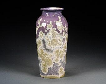 Ceramic Vase -Purple, White - Crystalline Glaze on High-Fired Porcelain - Hand Made Pottery - FREE SHIPPING - #E-1-5171