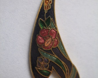 Vintage Purple Cloisonne Pendant with Flower