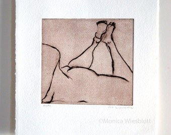 Hand Pulled Etching-Nude laying on stomach sepia