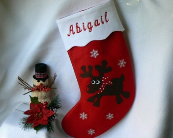 Kids Reindeer Christmas Stocking|Personalized Christmas Stocking|Traditional Red Felt Christmas Stocking|Child Christmas Stocking|Home Decor
