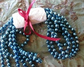 Reserved for Renee - Vintage Blue Mercury Glass Bead Garland, 86 Inches