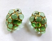 Vintage German Peridot Green with Gold Grape Cluster Puffed Flat Glass Drops, Charms  16x10mm (2)