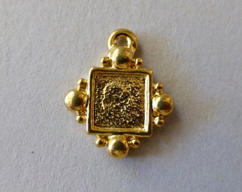 Vintage Gold Plated Square 8mm Bezel Setting Drop Charm Pendant with Loop (1)