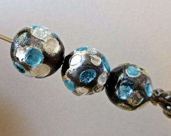 Vintage Lampwork Irregular Round Glass Beads - Opaque Black with Silver and Blue   12mm(2)