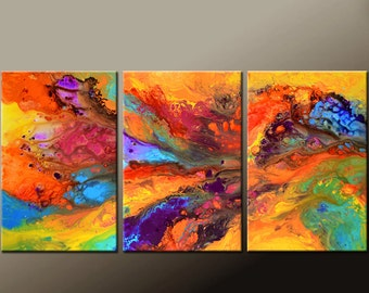 Abstract Canvas Art Painting Huge 3pc 72x36 Original Contemporary Painting by Destiny Womack - dWo -  Over the Rainbow