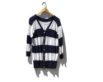 Vintage Cotton Summer Cardigan Sweater / Indigo & White Sweater