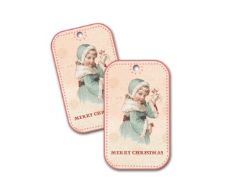 Christmas Tag Little Girl, Victorian Little Girl With Fur collar, Pink and Silver Blue Christmas Tag, Party Favor, Stocking Hang Tag
