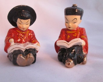 Vintage Made in Japan Chinese Girl and Boy Salt and Pepper Shakers - Reading Asian Couple - Asian Salt and Pepper - Salt Pepper Set