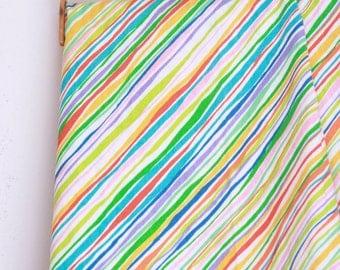 Vintage twin flat sheet multi colored stripe nos